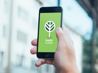 Park Places Load Screen green application outdoors fun trees play parks pin icon design ios app