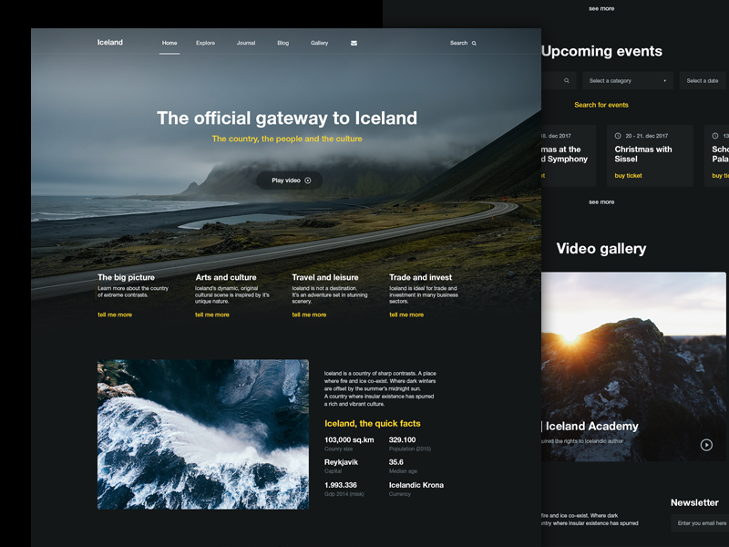 The official gateway to Iceland browser web-design home iceland ux ui interface site design web