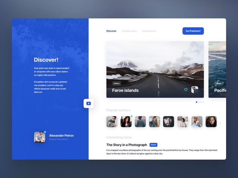 Discover! branding illustration startpage figmadesign typography dashboard website home figma card browser concept web-design app site web interface design ux ui