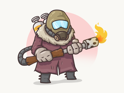 Doomsday Character 3 soldier post-apocalyptic illustration flamethrower fireman gasmask doomsday desing character apocalyptic
