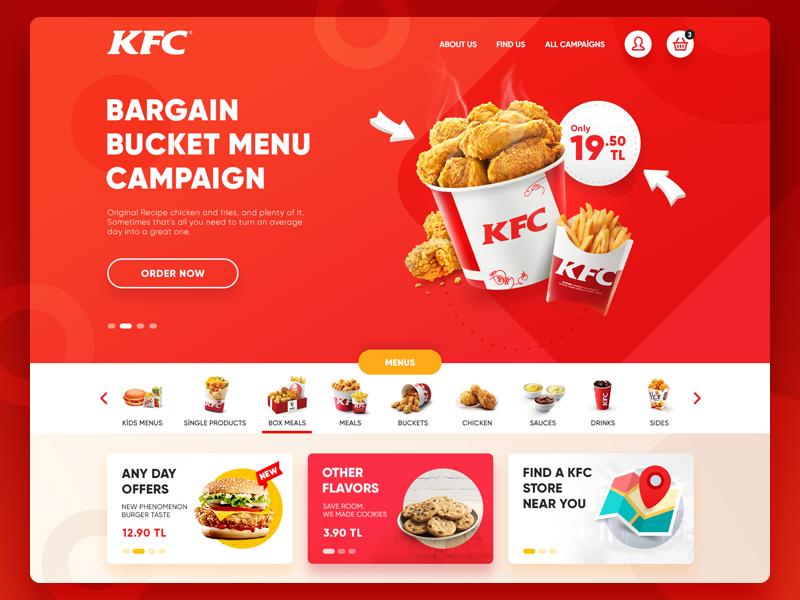 KFC Turkey Website Redesign redesign fast food concept ui website chicken kfc
