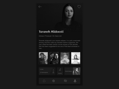 Cinema App - Celebrity Page film actress actor imdb adobe xd celebrity taraneh alidoosti black and white app movies movie