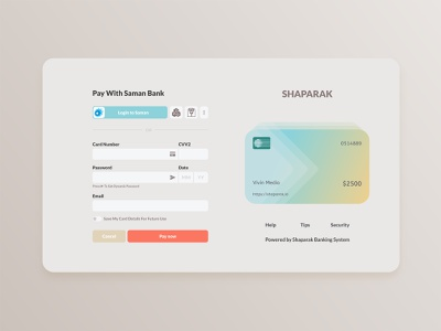 Checkout Concept bank saman behpardakht saman bank ui design adobe xd master card visa card login bank shaparak payment app payments payment method payment form paypal payment checkout page pay checkout