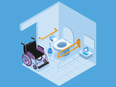 Accessible Toliet illustration isometry accessibility