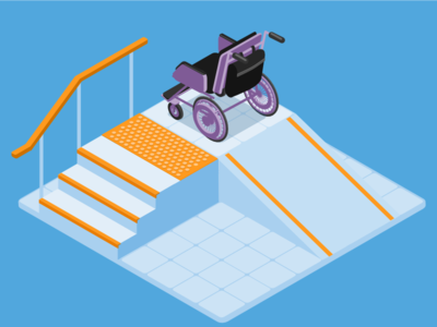 Accessible stairs & ramp illustration isometry accessibility