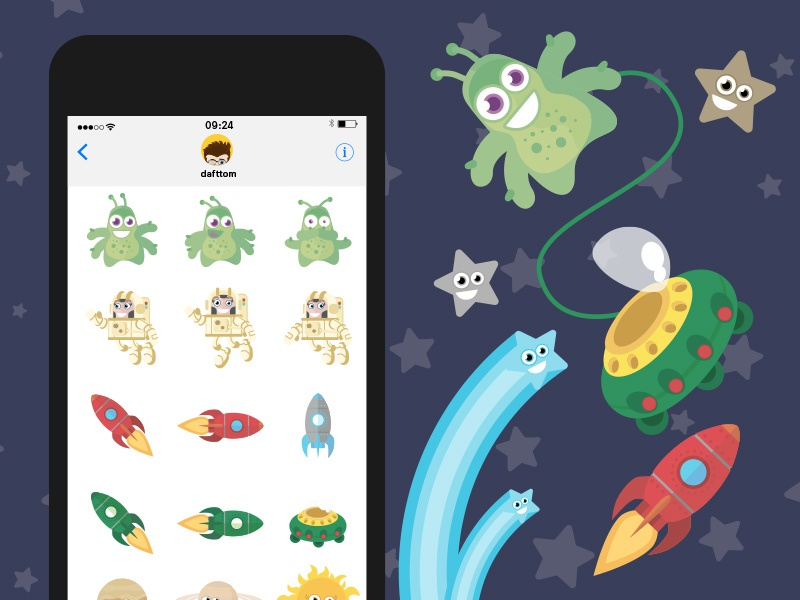 Outer Space iOS iMessage stickers iphone stickers alien ios space