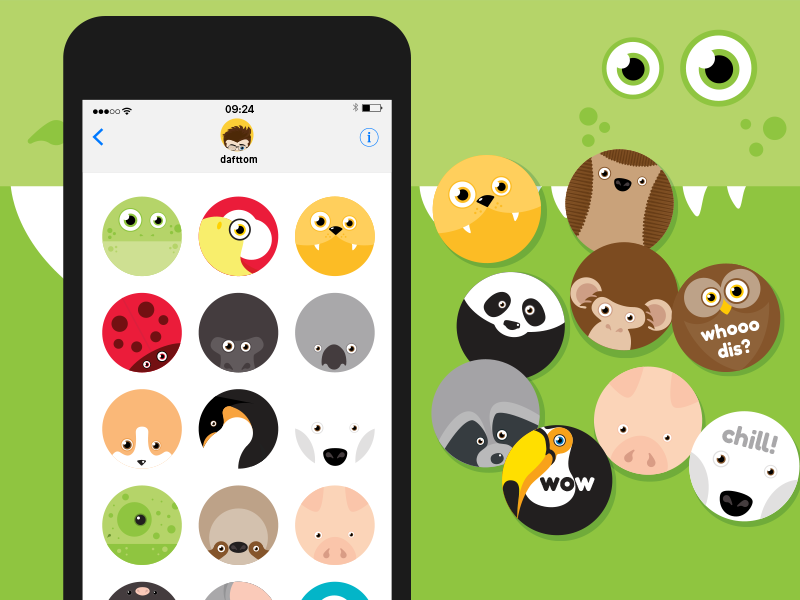Roundimal iOS iMessage stickers iphone stickers ios bear koala sloth lion gorilla animals