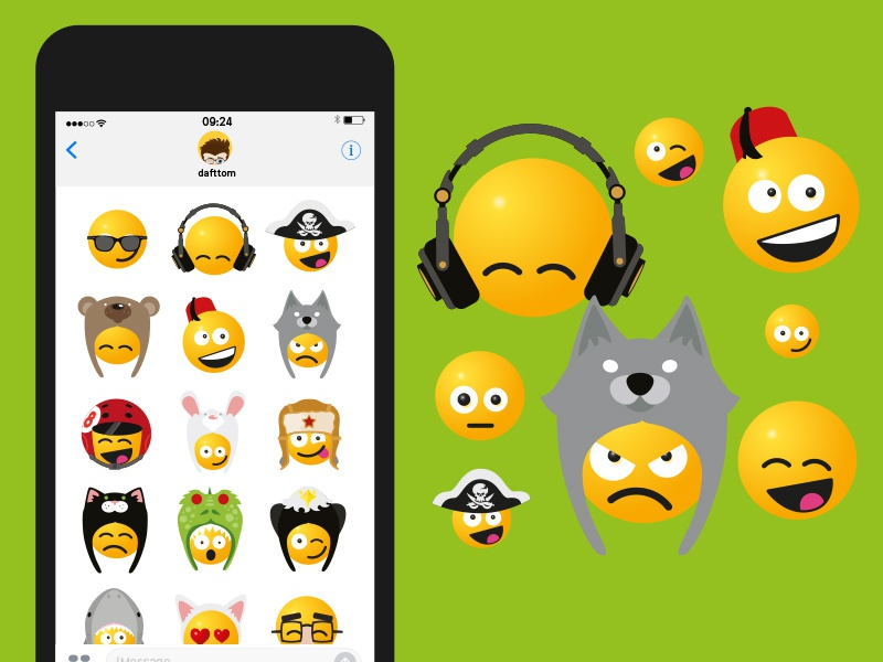 Smileys in Hats iOS iMessage stickers iphone stickers hats ios smileys smiley emoji