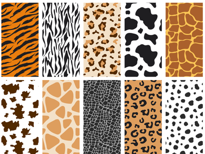 Free Animal Skin Pattern Set pattern pack pattern set animalistic leopard cow tiger zebra pattern animal pattern animal skin free psd vector pattern free pattern patterns pattern freebie design branding