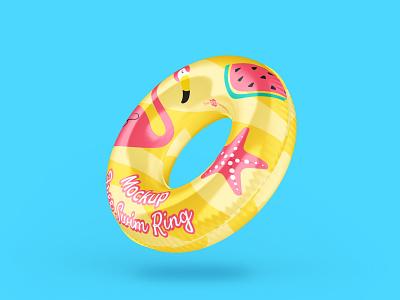Free Swim Ring Mockup PSD Template free branding mockups mockup inflatable water donut lifesaver water toy mockup template free mockup vacation summer beach swimming ring swim ring free psd freebie design branding