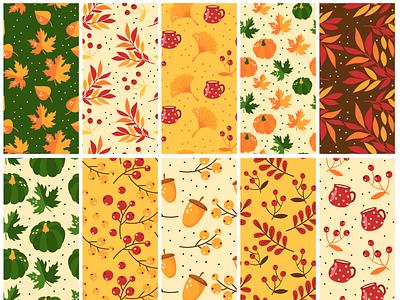 Free Autumn Pattern Set fall pattern autumn pattern vector pattern pattern template pattern pack pattern set patterns free pattern pattern illustration free psd freebie design