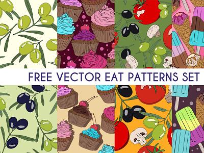 Free Food Pattern Set free download patterns sweet cake ice cream pattern pack food pattern vector pattern free patterns free pattern pattern set pattern vector illustration branding free psd freebie design