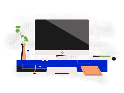 Workspace space remotework office design office space tablet imac texture vector illustration design abstract table plant workspace desk office