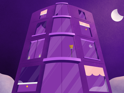 Moon Light vector buildings aparment house inspiration moonshine moonlight slience quite clouds pink purple dark night scene refelctions window texture moon building