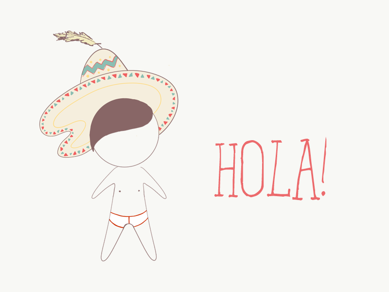 Hola! naked cowboy hat underwear kid spanish hola mexican