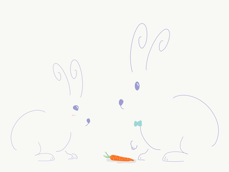 Sharing is Caring vectorart vector artwork doodle cute design artist coloroftheyear easter egg rabbit illustration