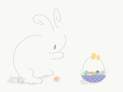 Happy Easter! vectorart vector artwork doodle cute design artist coloroftheyear easter egg rabbit illustration
