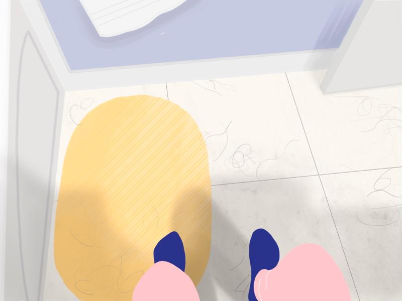 Washroom Hair toilet poop daily house character illustration washroom hair