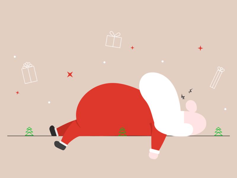 Time to wake up! character artwork illustration vector design christmas tree simple santa claus holiday gift holiday card holiday present santa christmas
