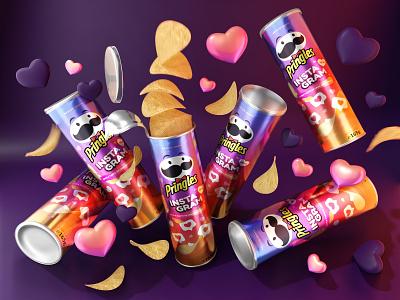 Pringles chips instagram feat crisps label instagram pringles 3d snacks chips design package dribbbleweeklywarmup