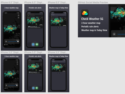 App store screenshots for Check Weather SG github figma ios checkweathersg screenshots appstore