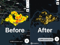 Before and after comparison of heatmap heatmap taxi singapore