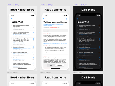 App Store Screenshots for HackerWeb 2.0 ios screenshots appstore hackerweb hackernews