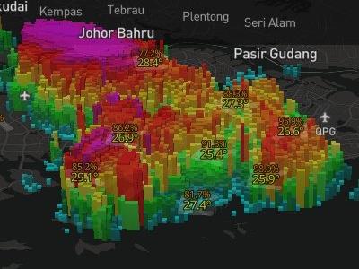 Rain area radar in 3D map 3d singapore weather rain