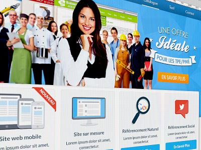 Homepage Design homepage ui flat blue mobile seo smo business