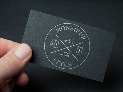 Monsieur Style business card logo print black stationery monsieur identity business card personal shopper clothing