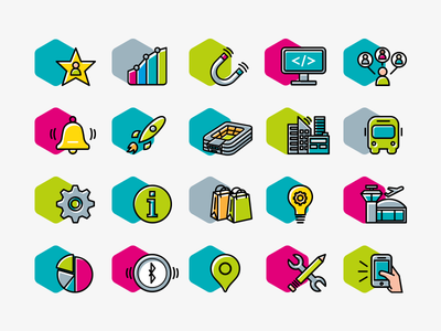 Icon set for Connecthings  shopping center smart city icon set stadium mobile notification hexagon connecthings airport bus icons