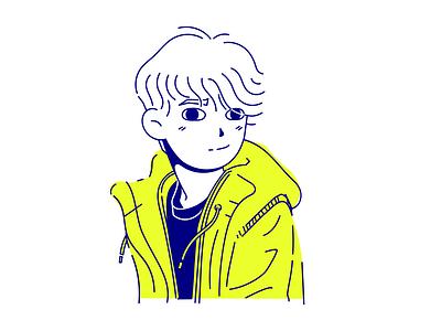 Ivan Illustration bright flat character design reneinareverie rene in a reverie rene inkscape yellow lineart character design vector illustration