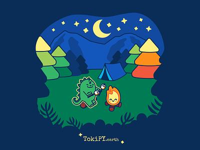 Baby Diploo the Dino Camping camping campfire camp kawaii fire kawaii cute fire cute dino dinosaur