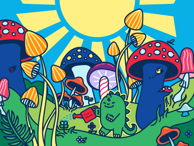 Diploo in a garden of mushrooms vector character design dinosaur groovy whimiscal flat illustration vector illustration vector art adorable art kawaii art cute art kawaii mushroom kawaii dino kawaii dinosaur kawaii dino tokipy diploo mushroom