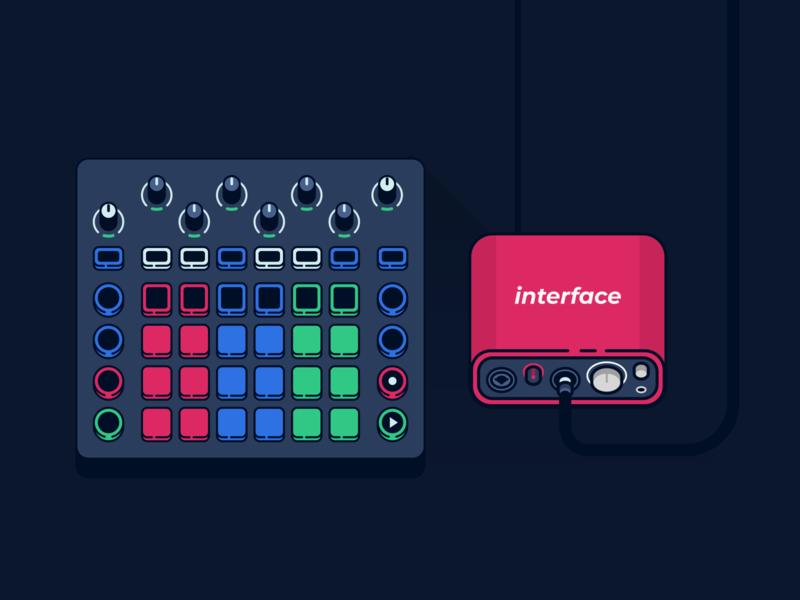 Diffuse cover // audio interface & drumpad icon illustration production icon production music icon music vector cover photo audio interface audio drumpad