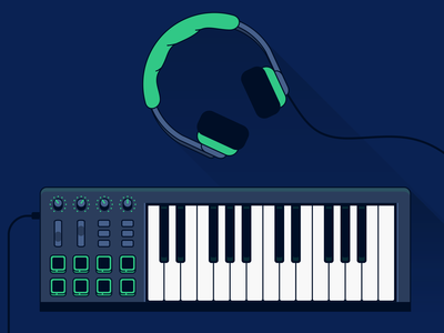 Diffuse cover // midi keyboard & headphones cover photo icon vector production icon producing audio audio tools piano piano icon keyboard icon midi keyboard keyboard headphones icon headphones