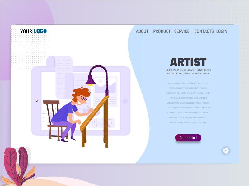 Artist character flat design vector art homepage landing page template marketing concept illustrator digital freelancer designer artist
