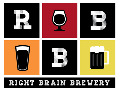 Right Brain Brewery Sticker #2 right brain brewery sticker pint glass beer snifter homestead red orange yellow black mug white traverse city michigan