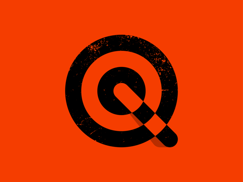 Q target focus center effect shadow lettermark monogram typography symbol icon mark branding logo minimal