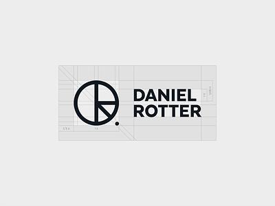 DR - construction 01 personal brand personal logo concept danielrotter grid construction lettermark monogram golden ratio typography symbol icon mark branding minimal logo