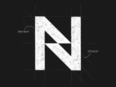 N - sketch sketch concept optimize implement consulting project management it lettermark monogram typography symbol icon mark branding logo minimal