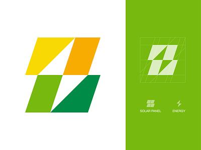 Solar Energy Logo symbol icon mark branding logo minimal green energy sustainability solar system thunderbolt energy solar energy solar panel solar