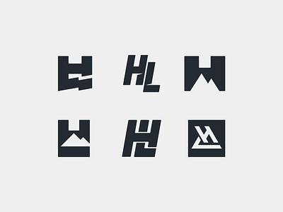 HL - Explorations minimal logo negative space mountain downhill hills symbol typography lettermark monograms personal brand biking mountainbike extreme sports enduro athlete mtb-rider mtb