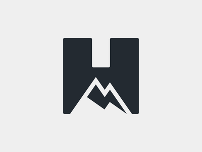 H + Mountain + lighting bolt mark symbol negative space branding logo minimal personal brand mountainbike biking sports enduro downhill rider mtb lighting bolt mountain