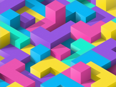 blockland #01 illusion shadow gradient isometric design minimal vectorart vector tetris blocks colorful blockland nftart nfts nft