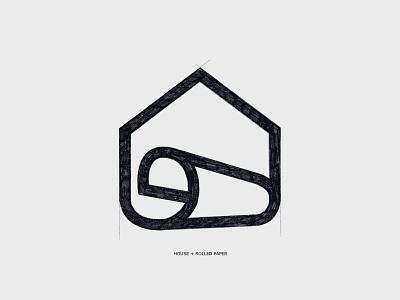 Printhouse - Logo sketch design symbol mark branding logo minimal printing rolled paper concept paper sketch house print printhouse