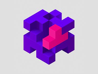 pinkblock minimal block tetris isometric art isometric illustration vectorart vector nftart nftartist nfts nft