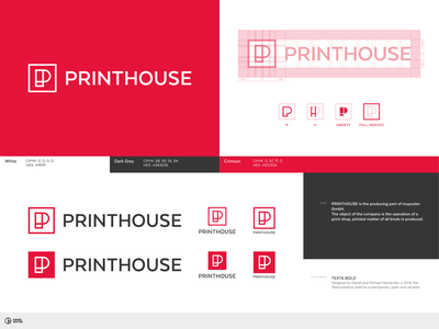 Printhouse - Micro Guide design lettermark monogram typography symbol mark branding logo minimal construction guide micro guide