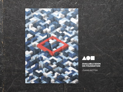 redsquare (get lost) foundation illustration minimal design posterdesign poster cryptoart nftart nft tetris isometric vectorart vector
