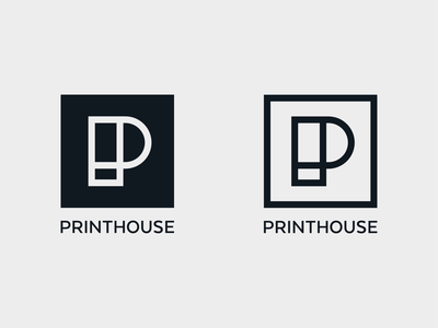 Printhouse - compact lockup's in both variations timeless strong simple monogram symbol mark branding minimal logo print on demand printhouse